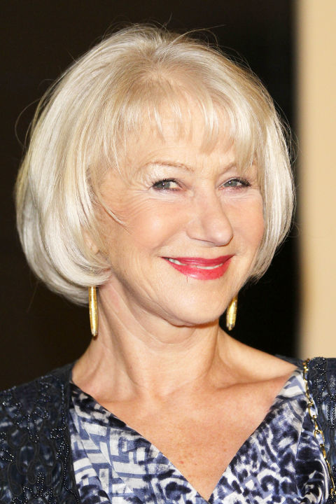 Helen Mirren's chin-length crop is perfect for fine hair that could benefit from a volume boost. Ask your stylist to keep the length full and blunt, without layering, to create an illusion of thickness. Avoid tools like razors and texture shears. However, slight layers around the face can flatter your appearance. When styling, use a round brush to gain extra lift at the crown.