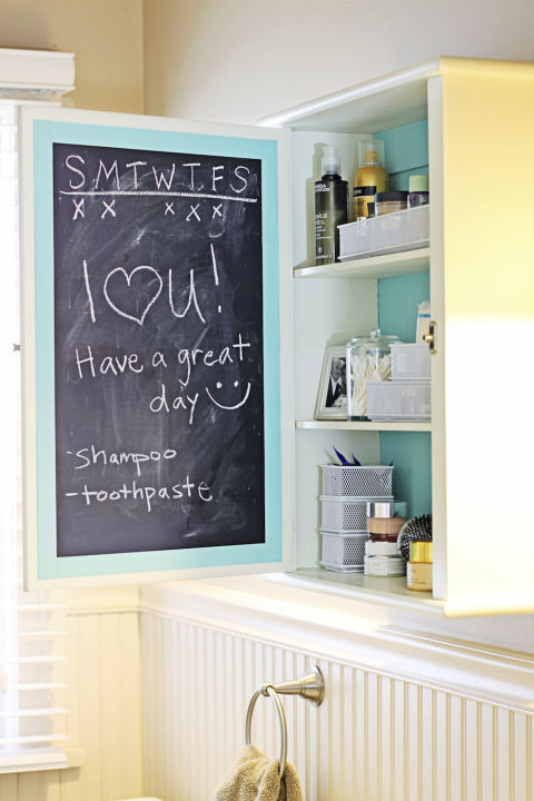 Bathroom Solutions Chalkboard Paint Medicine Cabinet DIY Shopping List To-Do Honey Do List