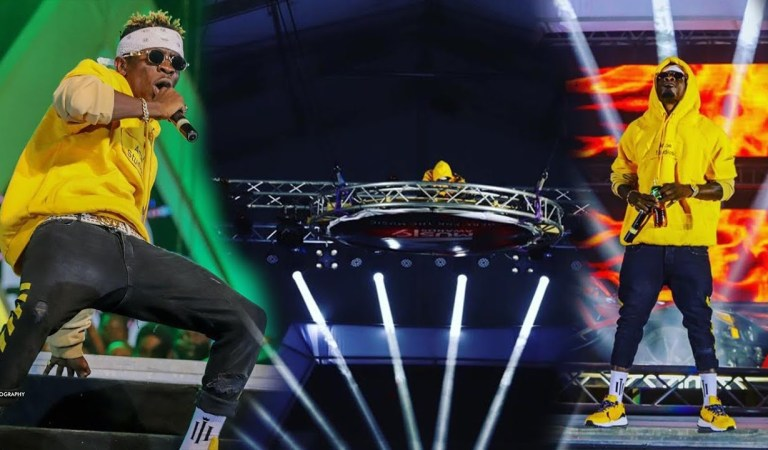 Watch: Shatta Wale dropped down from the sky same as Davido did at O2 arena
