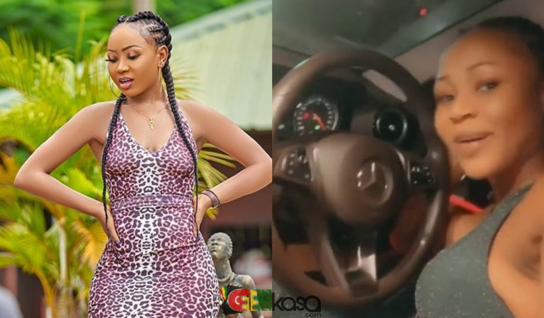 Akuapem Poloo Displays Brand New Benz Which She Uses To Sell Honey