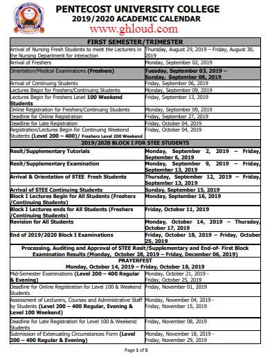 Pentecost University College Academic Calendar