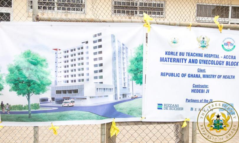 President Akufo-Addo cuts sod for new 400-bed maternity block, 101-bed urology centre at Korle-Bu