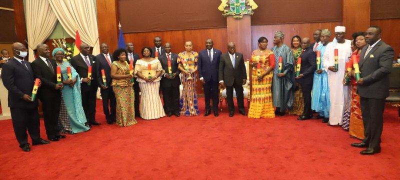 Prez Akufo-Addo presents credentials to 21 Ambassadors, High Commissioners
