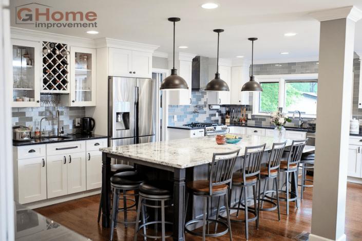 kitchen design columbus ohio. White Shaker Grey Island Cabinets  Kitchen Remodel Bath Flooring Remodeling Home Improvement