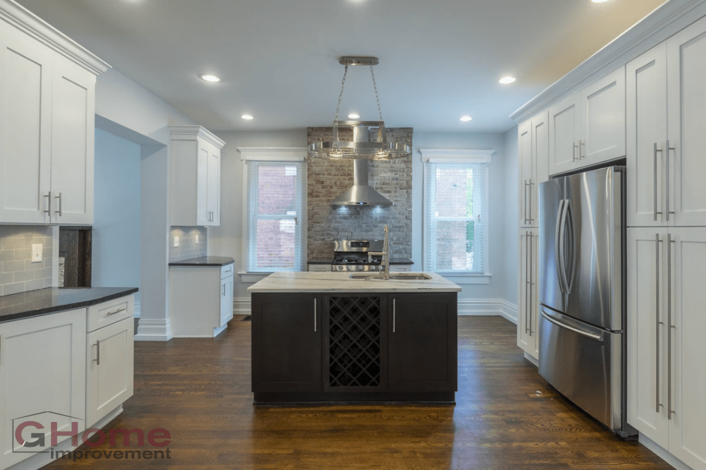White Shaker Cabinets Dark Island Kitchen Remodel Home Improvement