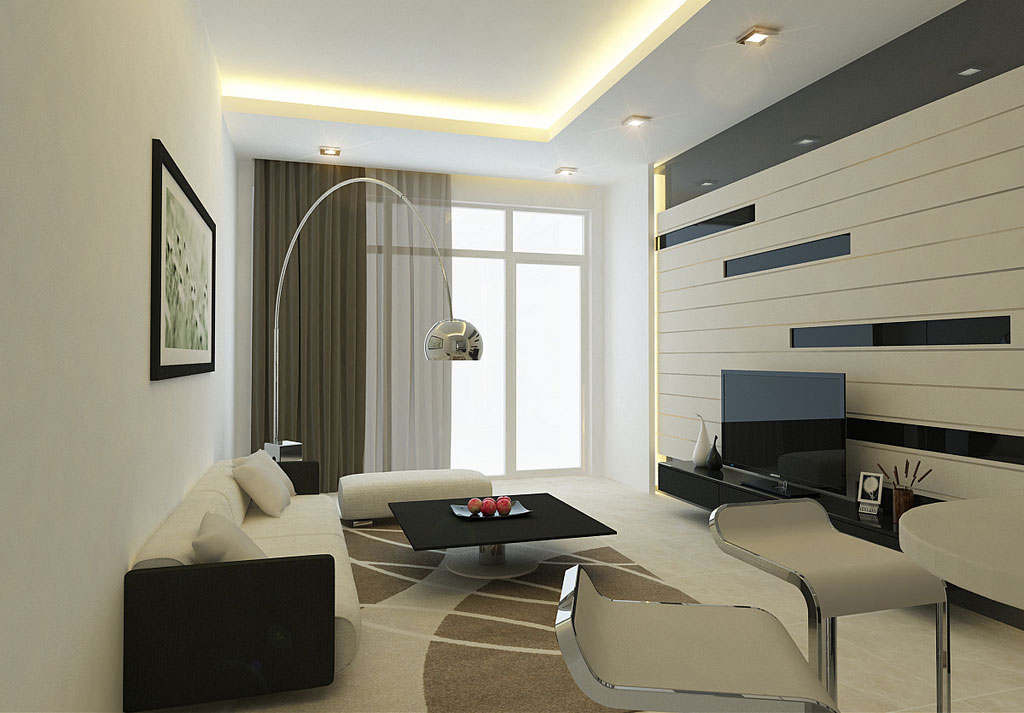 Modern Living Room Wall with Striped Decor - Interior ... on Decorative Wall Sconces For Living Room Ideas id=68001