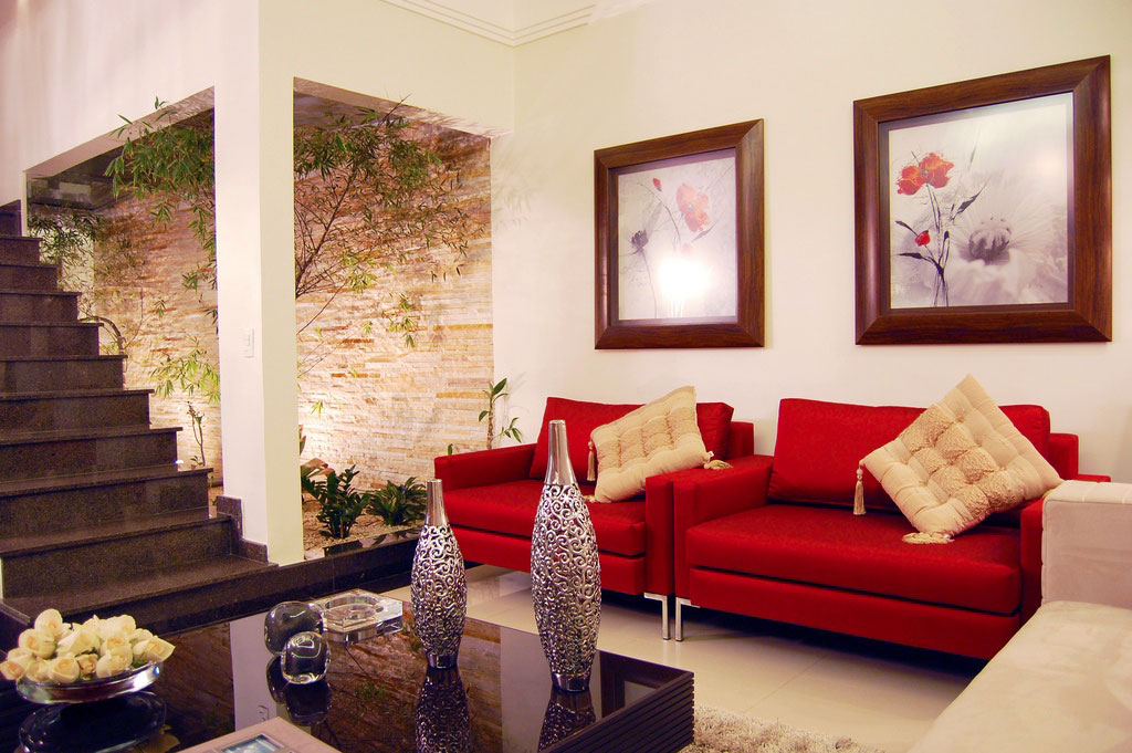 Cottonwood heights, utah why we love this pic: Modern White Living Room with Red Sofa and Courtyard ...