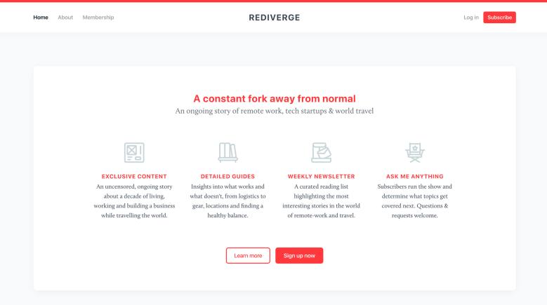 Home page di Rediverge - costruita con Ghost