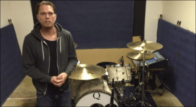 Chris Hornbrook video still from drum kit rundown video