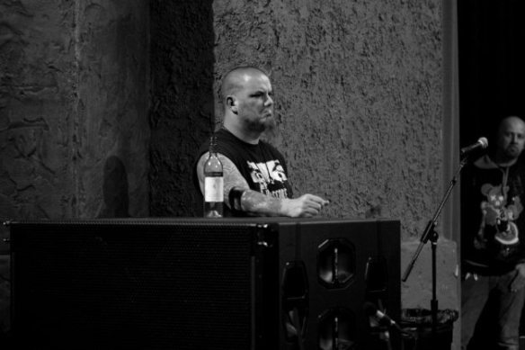 Phil Anselmo watches the bands on stage at Housecore Horror Fest III, by Emma Parsons Photography