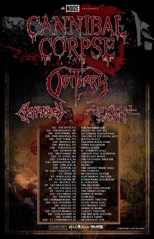 cannibal corpse obituary cryptopsy absymal dawn tour