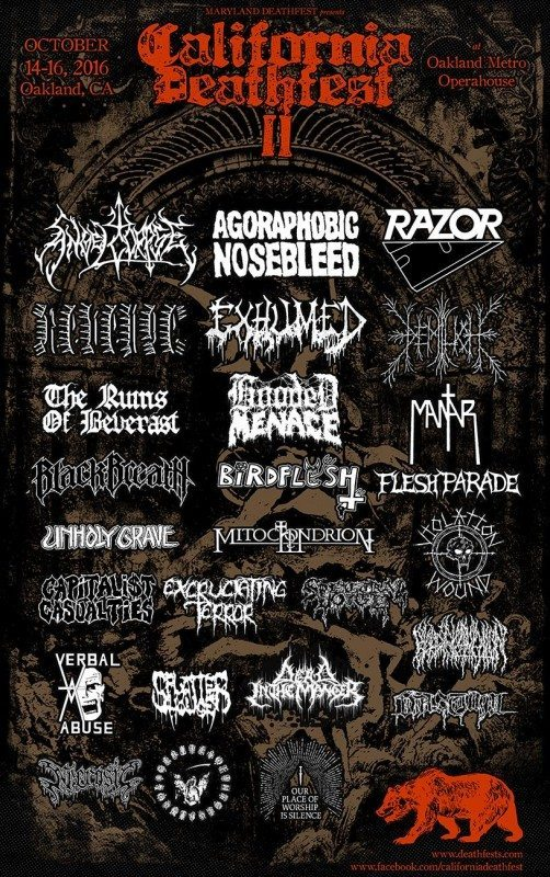 California deathfest 3rd wave of band jan 8 2016