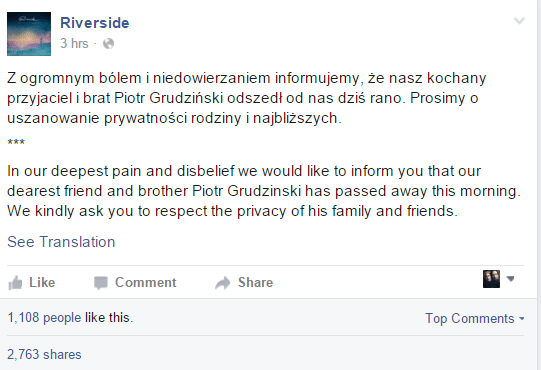 riverside RIP Piotr Grudzinski ghostcultmag