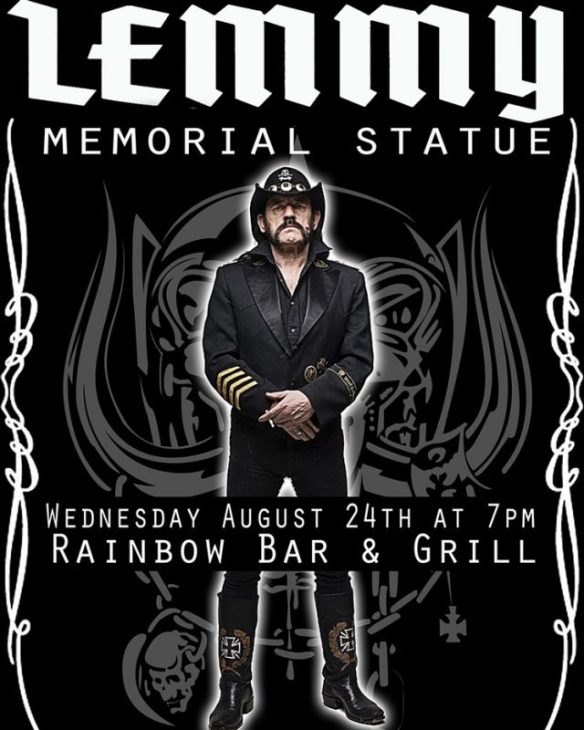 Lemmy Statue at the Rainbow Bar And Grill psoter ghostcultmag