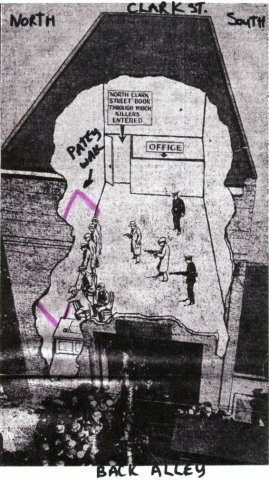 Drawing of the Massacre with the Patey section of the wall highlighted in pink