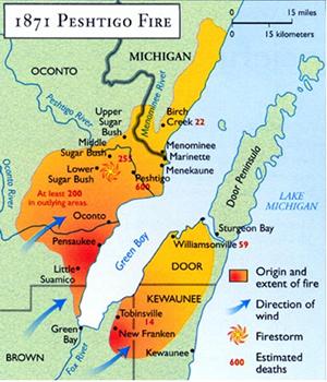 Map of the Peshtigo Fire area
