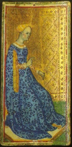 The Queen of Staves from the Visconti-Sforza deck. Attributed to Bonifacio Bembo (15th century)