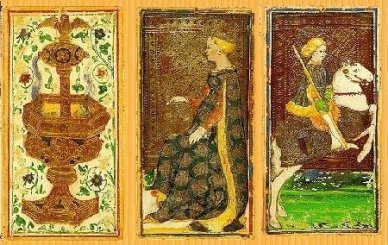 Three cards from a Visconti-Sforza Tarot deck. Featuring: Ace of cups, Queen of coins and the Knight of staves. Bonifacio Bembo (original) - http://de.wikipedia.org/wiki/Bild:Viscontisforzatarot.jpg