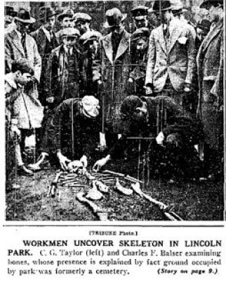 Lincoln Park: Photo of Skeleton found when breaking ground for Lincoln Park Zoo