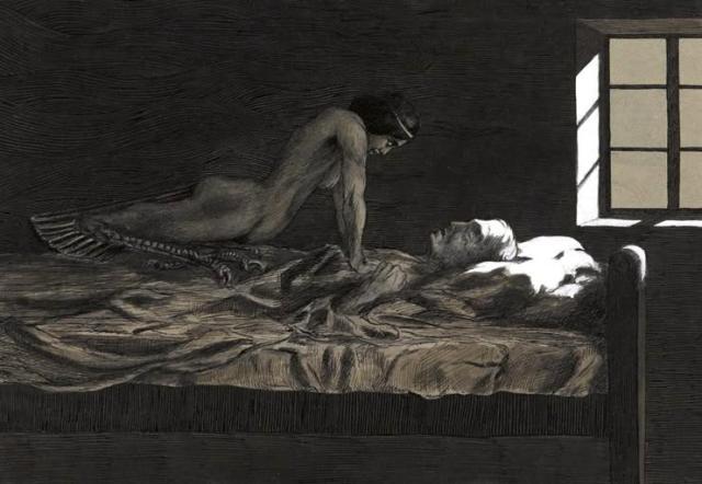 Fritz Schwimbeck - My Dream, My Bad Dream. 1915 Sleep paralysis hag