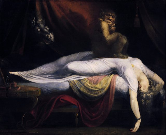 The Nightmare by Henry Fuseli (1781) is thought to be a depiction of sleep paralysis perceived as a demonic visitation.  https://en.wikipedia.org/wiki/Sleep_paralysis#/media/File:John_Henry_Fuseli_-_The_Nightmare.JPG