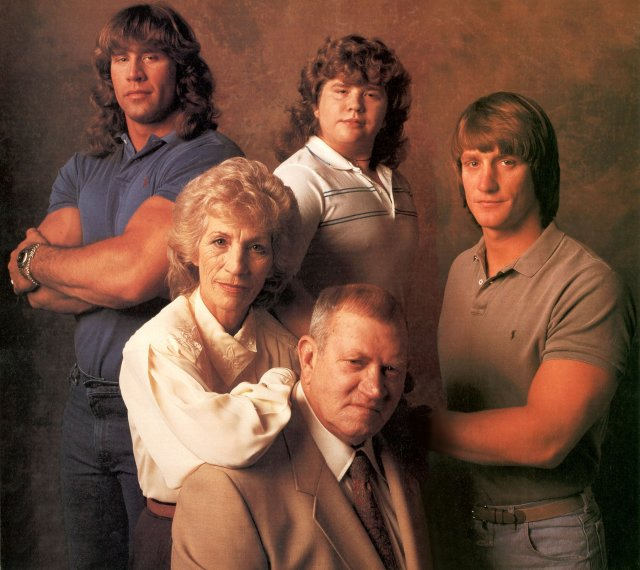 Fritz and Doris Von Erich (front) with their surviving sons, Left to right: Kerry, Chris, and Kevin.
