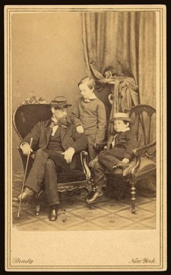 [Willie and Tad Lincoln, sons of President Abraham Lincoln, with their cousin Lockwood Todd] New York ; Washington, D.C. : Brady's National Photographic Portrait Galleries, [1861] 1 photographic print : albumen, on carte de visite mount ; 10 x 6 cm.