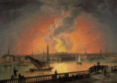 The Burning of Drury Lane Theatre from Westminster Bridge After standing only 15 years, the third Drury Lane theatre building burned down on 24 February 1809. This painting from the period, artist unknown, shows the view of the fire from the Westminster Bridge.