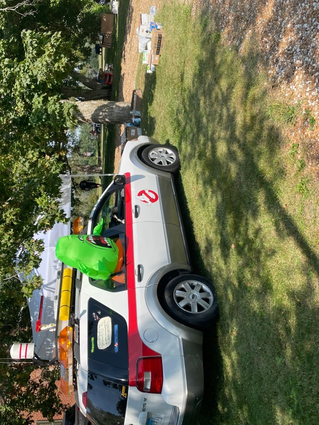 Ghostbuster Car with Slimer in the window. Car display by Springfield Ghostbusters IL Photo Credit: Rebecca Rivers