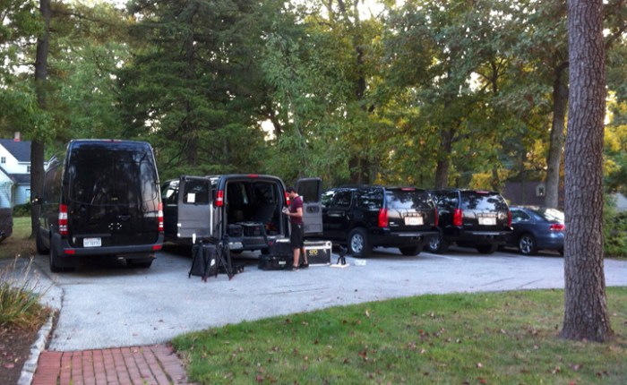 """Ghost Hunters"" vehicles during filming in Gettysburg with Mark Nesbitt of Ghosts of Gettysburg"