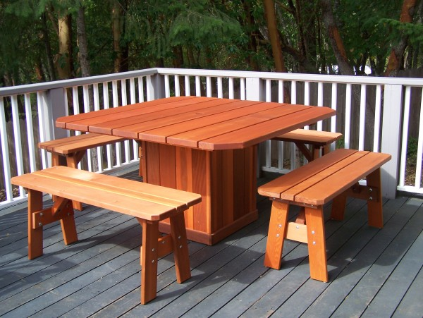 Wind Resistant Redwood Outdoor Dining Table