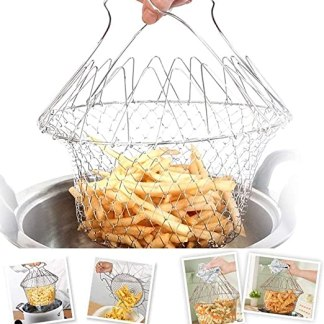 Stainless Steel Foldable Fry/Rinse Basket Strainer Net