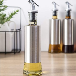 Stainless Steel Glass Oil/Vinegar Bottle Leak-proof