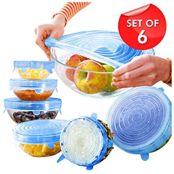 Multi-functional silicone Stretch bowl covers Lids 6Pcs