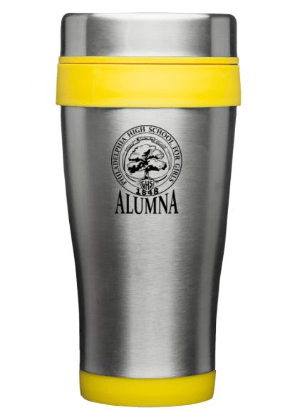 Silver and Yellow Travel Mug