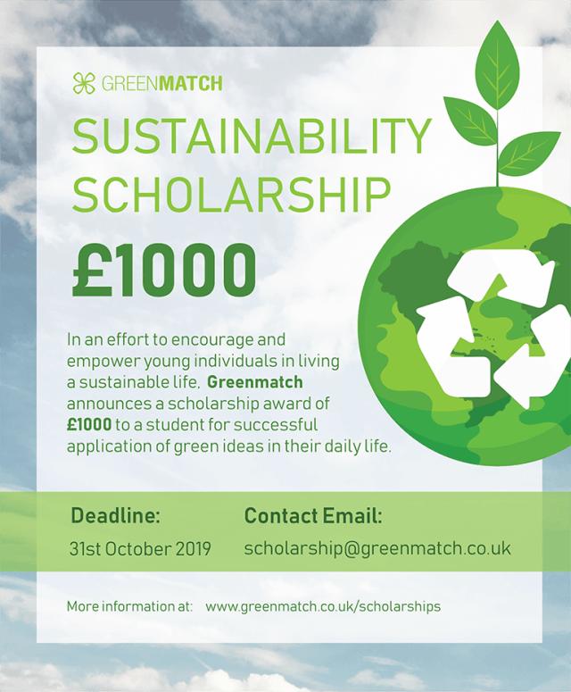 GreenMatch Sustainability Scholarship 2019