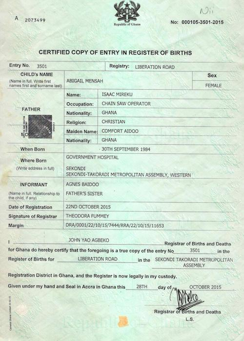 Birth Certificate Gh Students