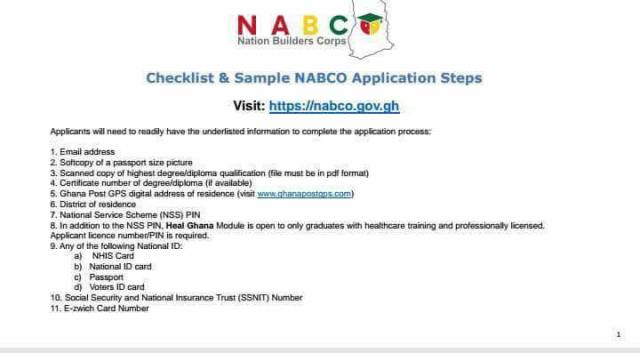 NABCO Application Procedures