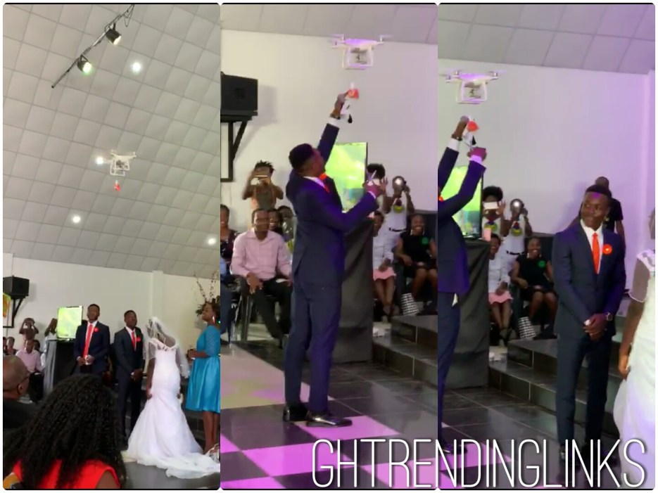 A video trending on social media demonstrating how startlingly a drone delivered a ring to these two young couples who were standing on the pulpit waiting for the rings to put on each other's fingers.  In a moment the whole congregation was amuse to see the drone flew over them, lots were going through the audience thoughts as to what was actually going on, as they look on the drone flown over them slowly and drops the ring which was in a box unto the best man palm, which he also conveyed it to the couples for exchange of rings to take place.  Is that the power of drones, are we really to say we will choose drones over Guinea Fowl (Akonfem)?