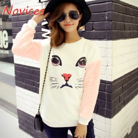 2015-Fall-and-Winter-Women-Fashion-Cute-Animal-Cat-Face-Pattern-Print-Loose-Plus-Size-M
