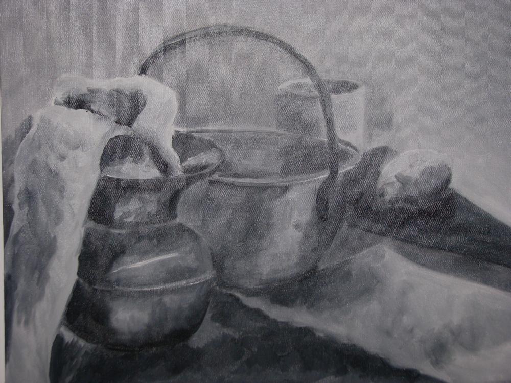 B&W still life (oil, 2004) by Elizabeth MacFarland
