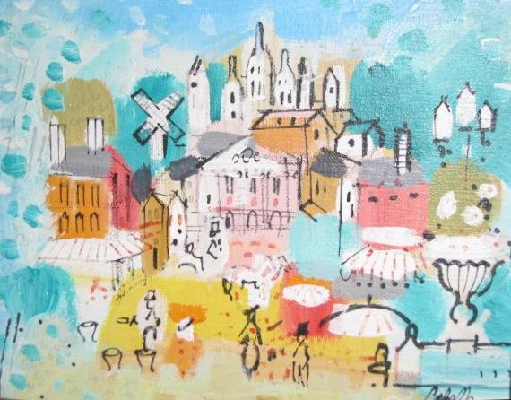 Street scene ala Miro, in oil, by Cobelle