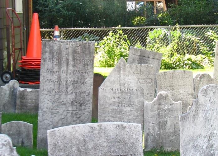 Orange Safety Cones at 1st Presbyterian Cemetery - 02Sept08