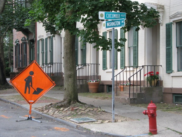 Orange Work Sign at the corner of Cucumber Alley - 26June2009