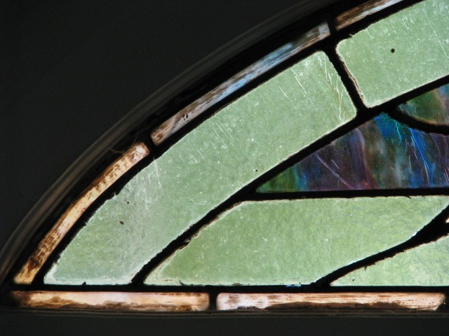 Stained glass - corner detail - 16 Wash Ave.