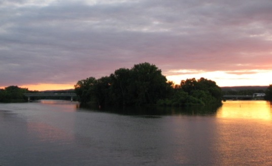 Isle of the Cayuguas at sunset, Mohawk River - 06Aug09