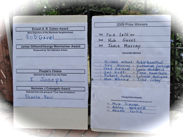 Winners List for the 58th Annual Stockade Villager's Outdoor Art Show - 12Sep09