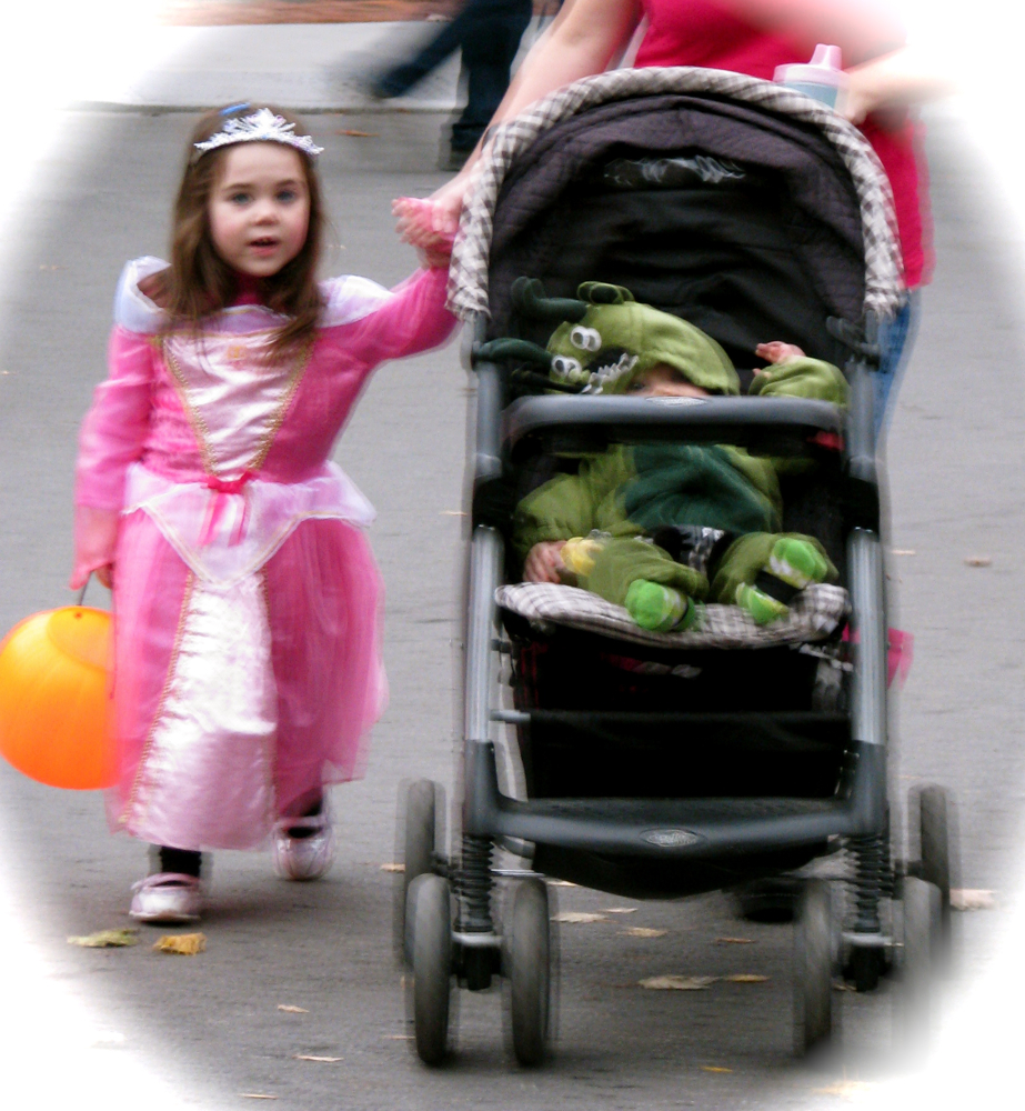 a princess and a frog head to Arthur's Market - Stockade Halloween 2009