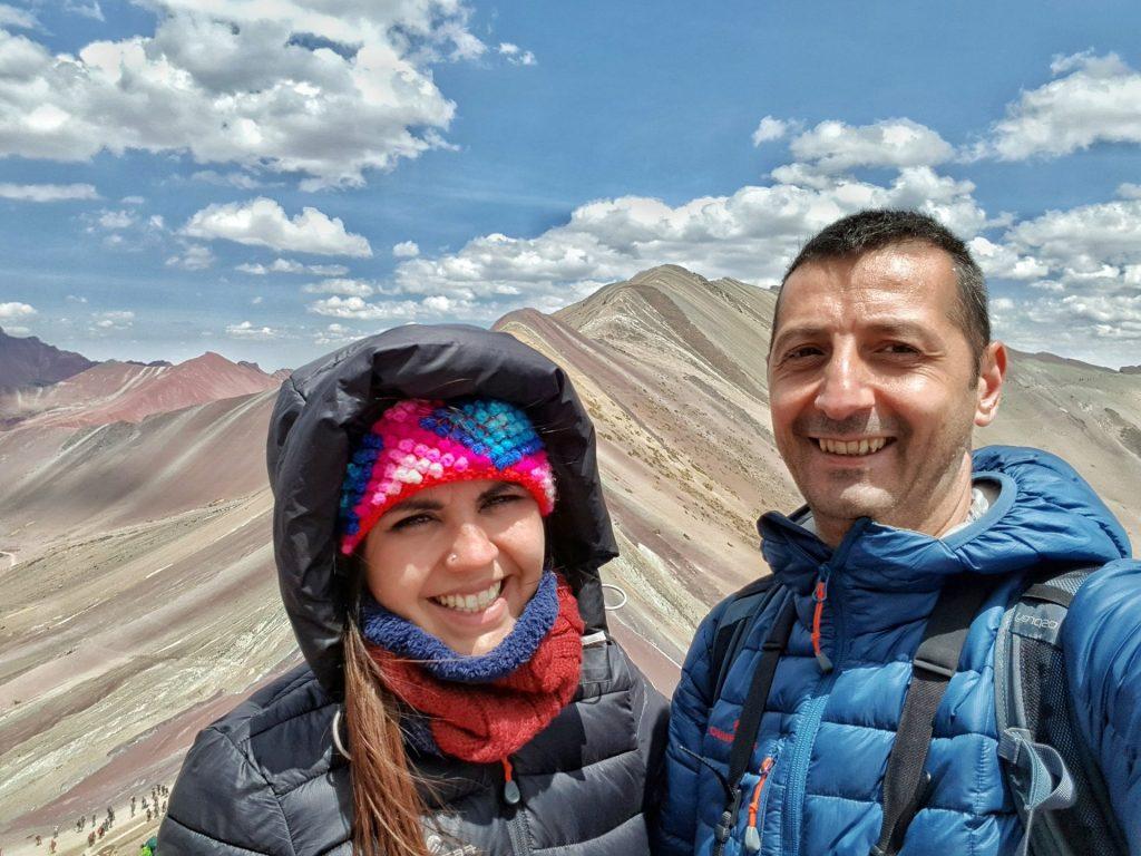 Io e Chrisitan a 5200 metri Vinicunca Montagna Arcobaleno