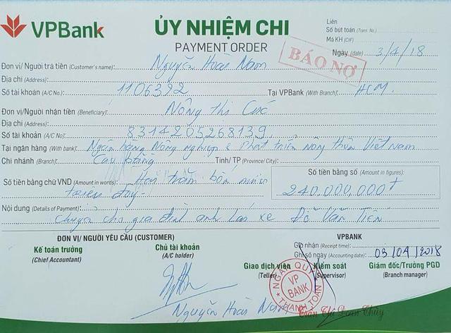 Số tiền 240 triệu đồng đã được chuyển tới tài khoản của vợ anh Tiến. (Ảnh trên trang cá nhân của doanh nhân Nguyễn Hoài Nam).